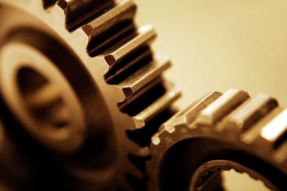 Metal cogs working together