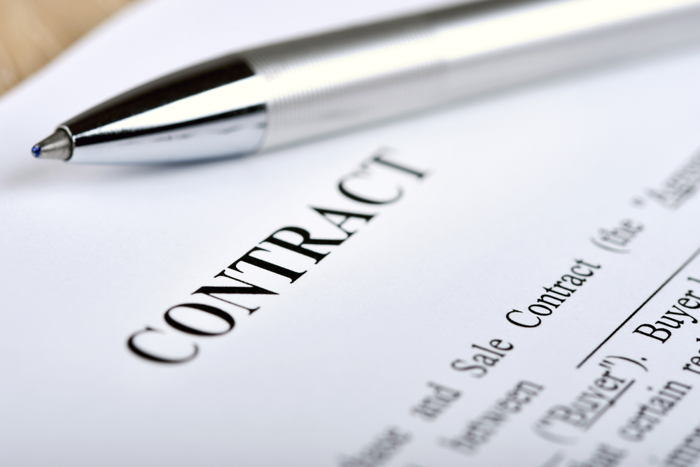 Closeup of a contract